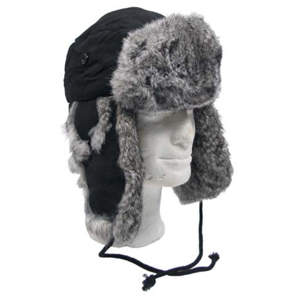 Kepurė MAX FUCHS su natūraliu triušių kailiu, juoda