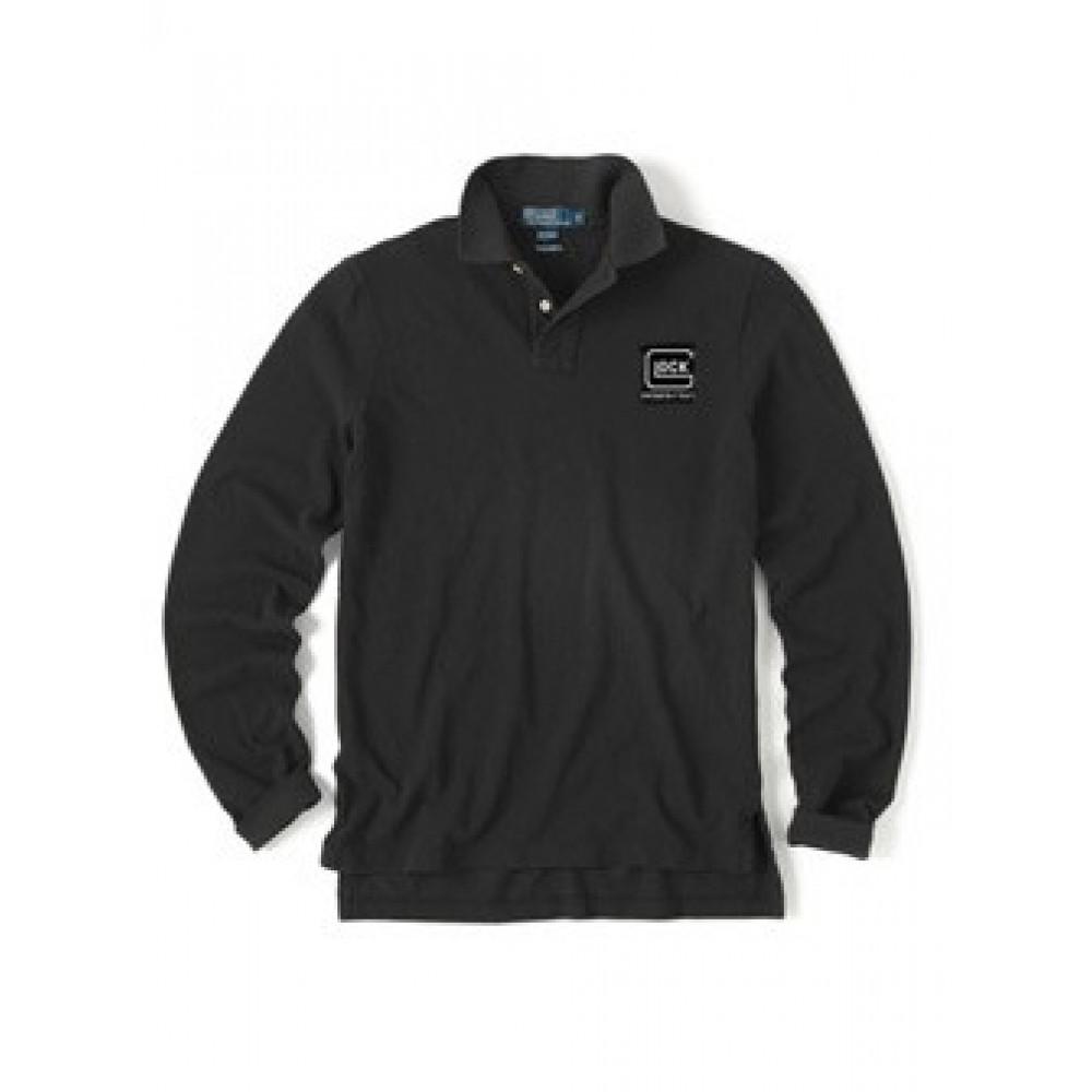 Marškinėliai polo GLOCK ilgomis rankovėmis, juodi