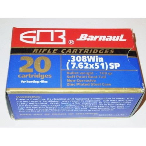 Šoviniai BARNAUL 308Win (7,62x51) SP 9,1 g.