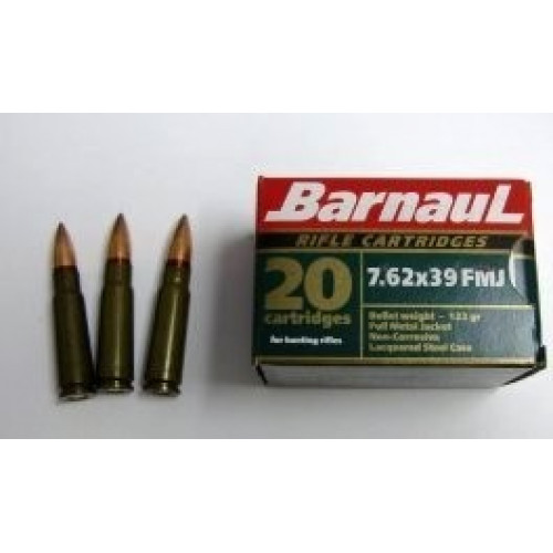 Šoviniai BARNAUL 7,62x39 FMJ 8.0 g.
